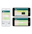 smartphone messenger application on screen vector image vector image
