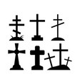 spooky grave crosses on white background vector image