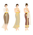 thai woman in beautiful traditional wedding dress vector image