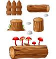 timber and stump cartoon vector image