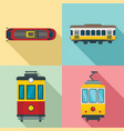 tram icon set flat style vector image