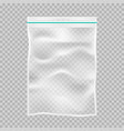 transparent plastic packaging with lock or zip vector image vector image