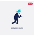 two color sherlock holmes icon from literature vector image vector image