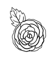 black silhuette rose with leaf vector image
