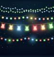 set of colorful light garlands vector image