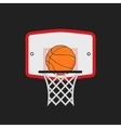 Basketball hoop and orange ball on the dark vector image