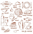 Hand drawn menu elements set vector image