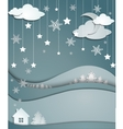 night winter background of snowflakes trees house vector image