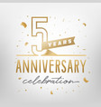 5th anniversary celebration golden template vector image