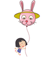 A cute little girl holding a bunny balloon vector image