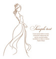 beautiful bride in white dress vector image