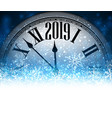 blue 2019 new year background with clock vector image vector image
