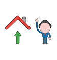 businessman character with arrow up under house vector image vector image