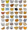 Cartoon funny cats heads big set vector image