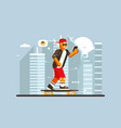 cartoon guy riding on skateboard outdoor vector image