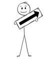 cartoon of businessman holding arrow sign vector image vector image