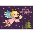 Christmas card with an angel who holds a star vector image vector image
