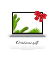 christmas gift poster with modern laptop holday vector image vector image