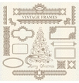 christmas vintage elements set vector image vector image