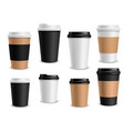 coffee cups paper takeaway realistic cups white vector image vector image