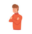 confident young man with folded hands male vector image vector image