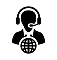connection icon male customer service person vector image vector image