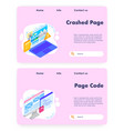 crashed page website landing page template vector image