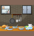 cuisine on the dining table in the kitchen vector image