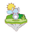 cute male rabbit in the float island vector image