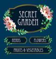 elegant garden labels blue background vector image