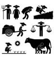 farm farmer worker farming countryside village vector image
