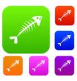 fish bone set collection vector image vector image