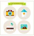 Flat Nature Outdoor Website Icons Set vector image vector image