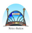glassware building metro station train railway vector image vector image