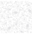 Gray Drawing Tropical Flowers Seamless vector image