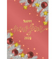 happy new year 2020 pink greeting card vector image vector image