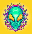 head alien smile trippy vector image vector image