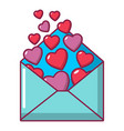 heart letter icon cartoon style vector image