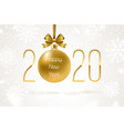 holiday golden bauble with glitter gold bow vector image vector image