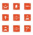 interpretation icons set grunge style vector image