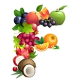 Letter F composed of different fruits with leaves vector image vector image