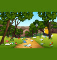litter in the nature park vector image vector image