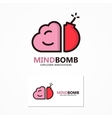 logo or icon combination of brain and bomb vector image vector image
