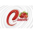 milk yogurt cream swirl with fresh strawberry vector image