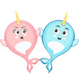 narwhal couple characters in cartoon style drawing vector image vector image