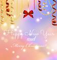 New year greeting card Christmas bow and ribbon vector image