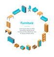office furniture 3d banner card circle isometric vector image