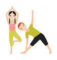 pair of children dressed in sportswear doing yoga vector image vector image