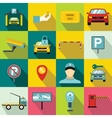 Parking set icons flat style vector image vector image