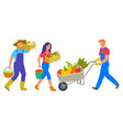 people working on farm agrarians harvesting team vector image